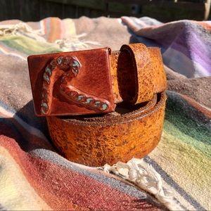 REPLAY > Vintage Brown/Tan Leather Belt > 34